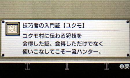 技巧者の入門証【ユクモ】